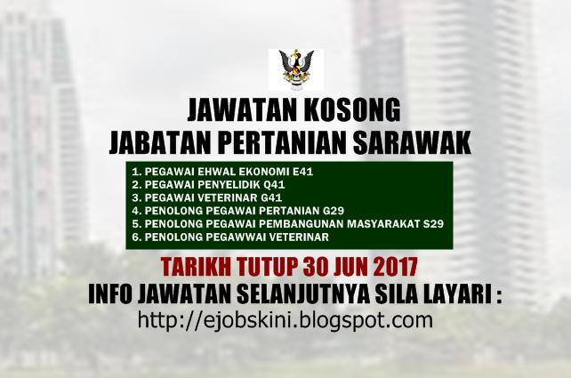 Jawatan Kosong Jabatan Pertanian Sarawak Jun 2017