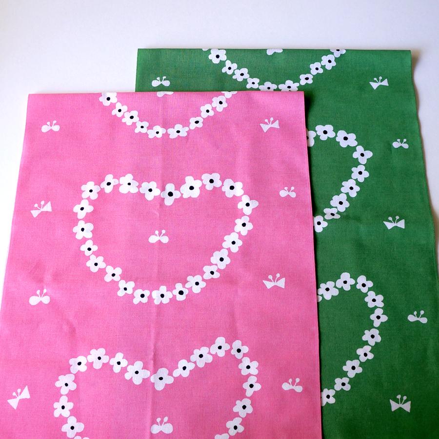 新色てぬぐい「humming heart」pink / green が出来上がりました♩