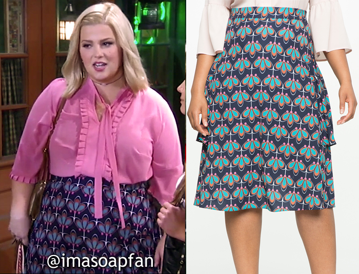 Amy Driscoll, Risa Dorken, Multicolored Floral Print Skirt, ELOQUII, General Hospital, GH