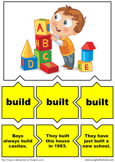 english irregular verbs flashcards, verb build