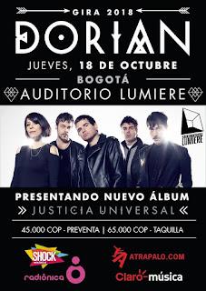 Poster Concierto de DORIAN en Bogotá 2018