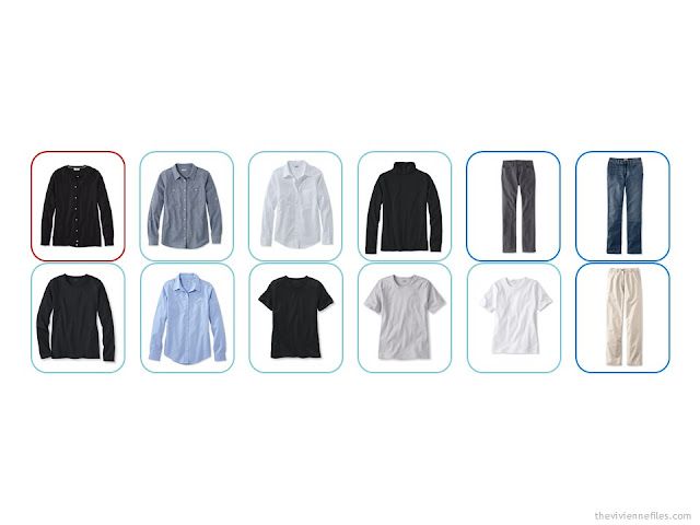 a 12-piece Common Wardrobe in black, white, denim and khaki