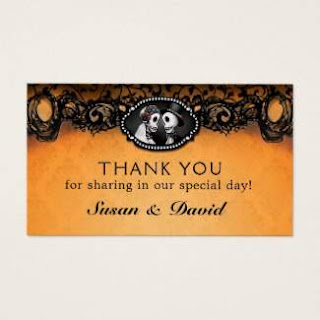 Halloween Wedding Orange Black Skeletons Thank You Cards Small