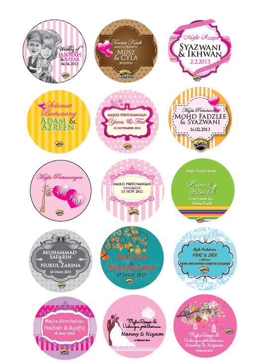 Design sticker kahwin bertunang round