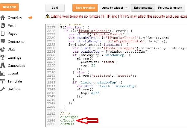 Add Sticky Sidebar Widget For Blogger -2