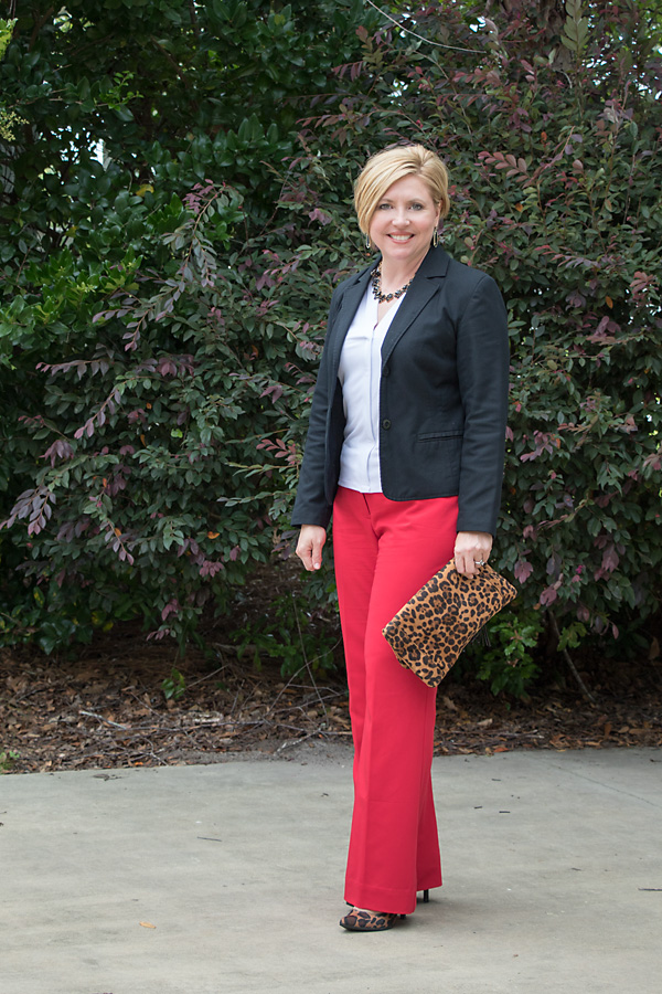 red trousers with black blazer