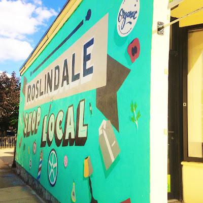 Roslindale Shop Local Mural in Roslindale Square on Washington St