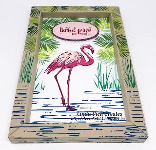 Linda Vich Creates: Fabulous Flamingo Shadow Box Frame. A vibrant shadow box frame showcases the Fabulous Flamingo stamp set.