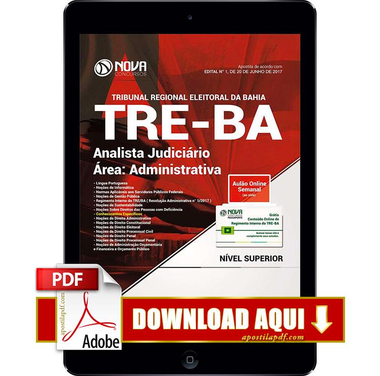 Apostila TRE BA 2017 PDF Download Analista Judiciário Área Administrativa