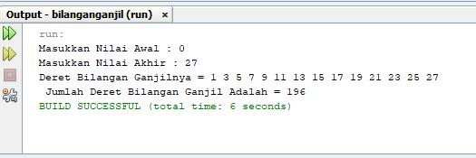program java perulangan angka dengan angka ganjil