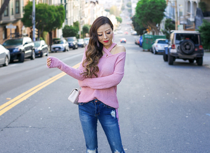 pink criss cross sweater, LA made Viera sweater, baublebar earrings, pink tassel earrings, skinny jeans, chanel mini flap bag, christian louboutin pink pumps, spring outfit ideas, san francisco street style, san francisco fashion blog