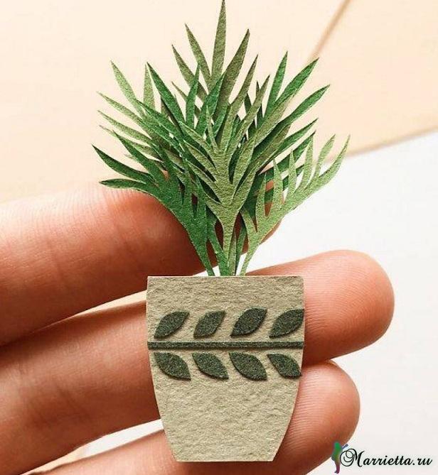 Комнатные цветы и растения из бумаги. Панно своими руками (2)