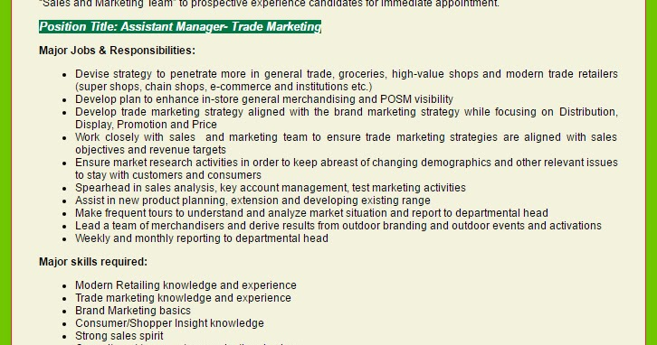 Ispahani Group  Assistant Manager  Trade Marketing  Employment