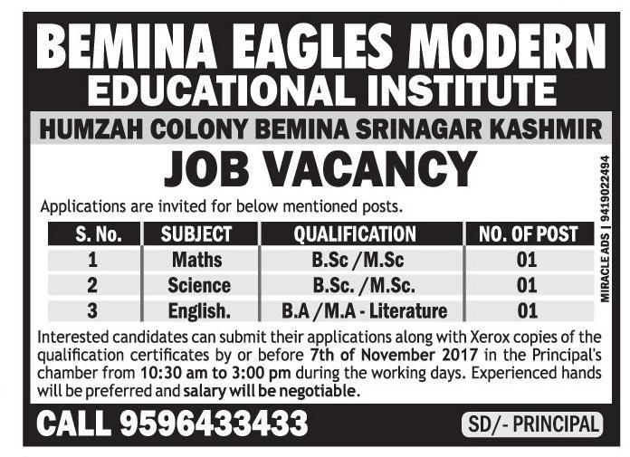 Bemina Eagles Modern Educational Institute has job vacancies