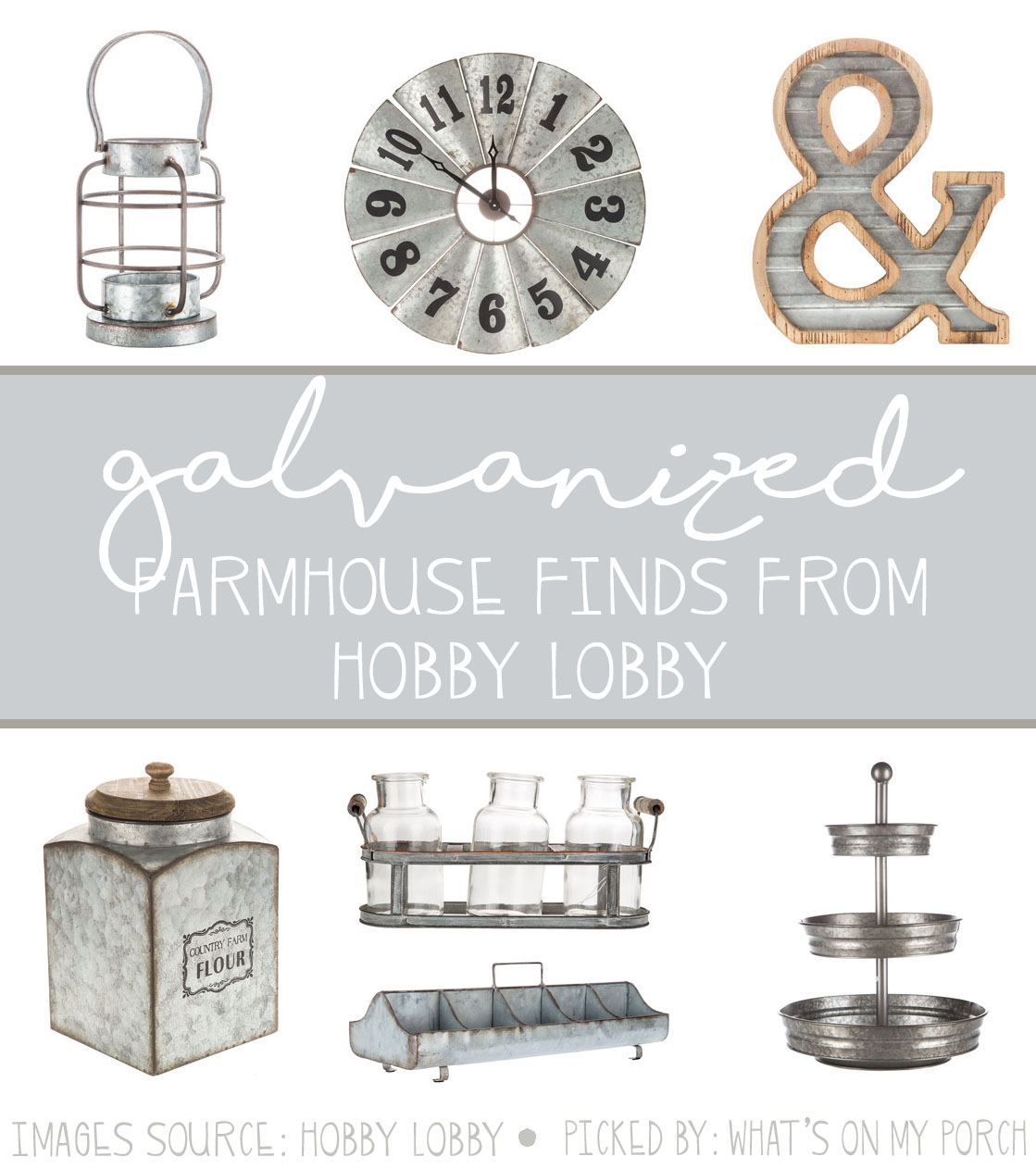 7df6fd64f868e I am gaga for galvanized home décor! I just love that faded silver look!  Here are a few galvanized farmhouse finds from Hobby Lobby.