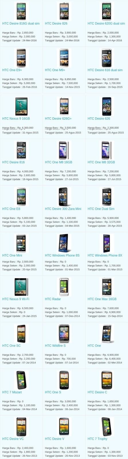 Daftar Harga Hp Terbaru HTC Juni 2016