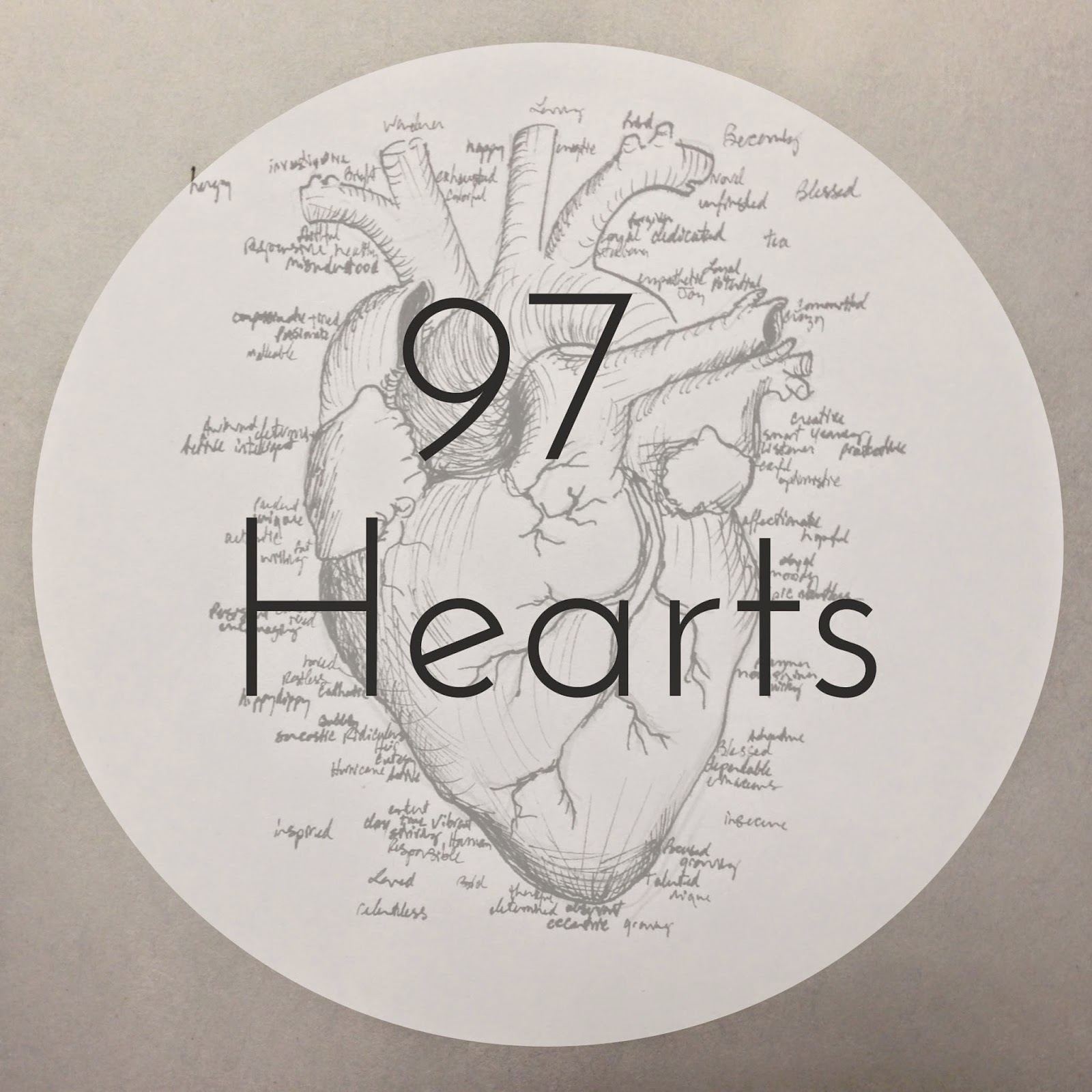 97 Hearts anatomical heart drawing