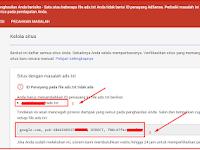 "Pengalamanan  Atasi  "" Penghasilan Anda berisiko - Satu atau beberapa file ads.txt Anda tidak berisi ID penayang AdSense ""."