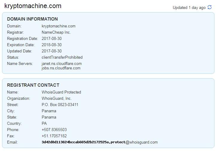 KRYPTOMACHINE COM FAKE WEBSITE