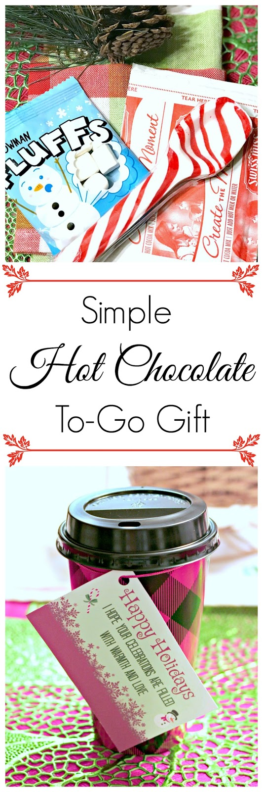Hot chocolate to go gift, printable gift tags for hot chocolate, hot chocolate printable tag, buffalo plaid coffee cups, oriental trading savings, oriental trading holiday gifts