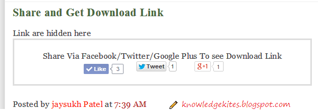 Show Download link or button after share or like on social media button step 1