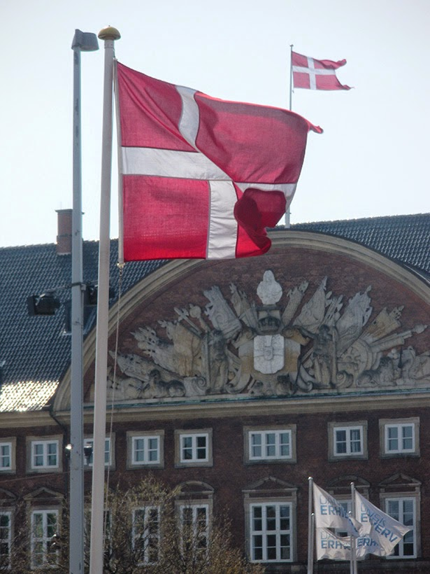 Danish flags in Copenhagen, Denmark