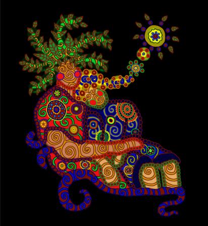 Illusztráció vershez, digitális, pszichedelikus mintázatú, spirituális hangulatú rajz ráérősen pihenő anyáról, buba ül az ölében, mindenhol lelóg.