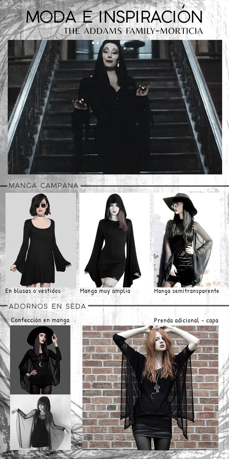 Moda y estilo oscuro inspirado en Morticia - The Addams Family