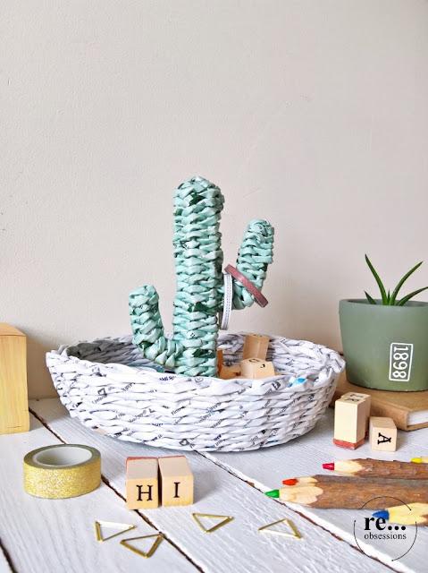 organizer, paper weaving, paper wicker, paper art. recycle, basket, papierowa wiklina, cactus, koszyk, kaktus
