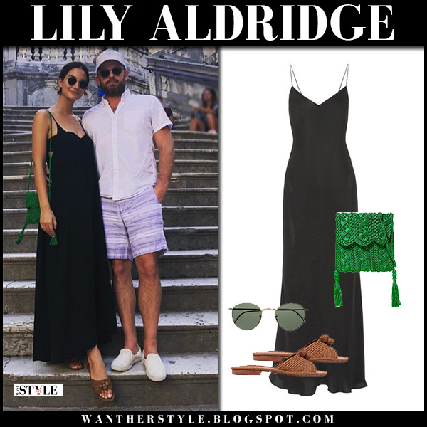 Lily Aldridge in black maxi dress the row with green crocheted bag carrie forbes model vacation style august 31