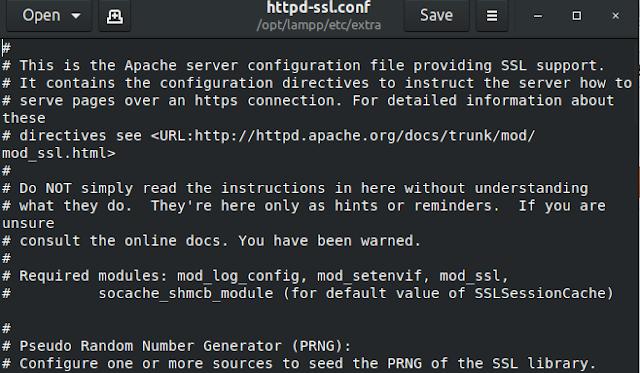 فتح ملف httpd-ssl.conf عن طريق محرر النصوص GEdit وتغيير منافذ وبورتات السيرفر المحلى