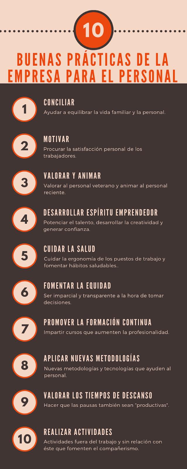 10 buenas prácticas de la empresa para el personal