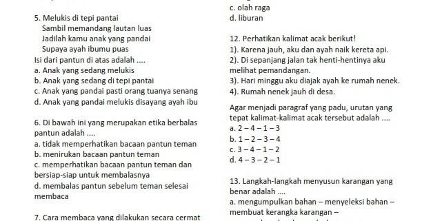 Soal Cerita Bahasa Indonesia Kelas 4 Contoh Soal