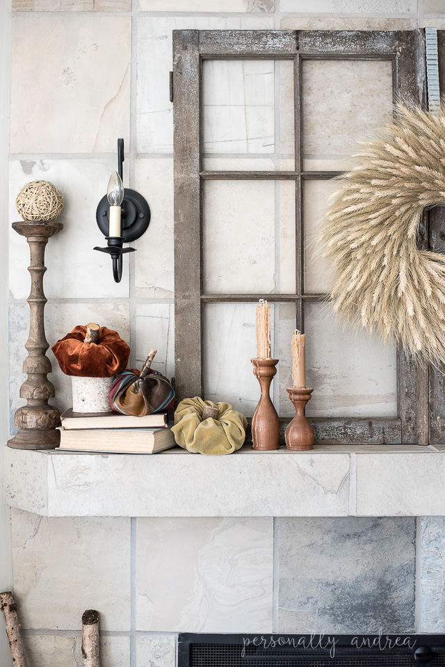 How to create a neutral fall mantel using symmetry for simplicity and texture for interest | personallyandrea.com