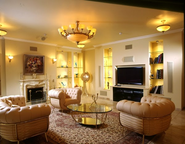 ceiling lights and wall lighting ideas in luxury living room interior