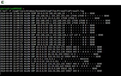 Log en tiempo real del log del firewall de Windows pfirewall.log.