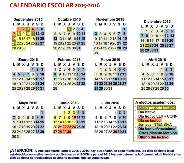 Calendario Academico Madrid.Calendario Escolar Del Curso 2015 2016 En Madrid