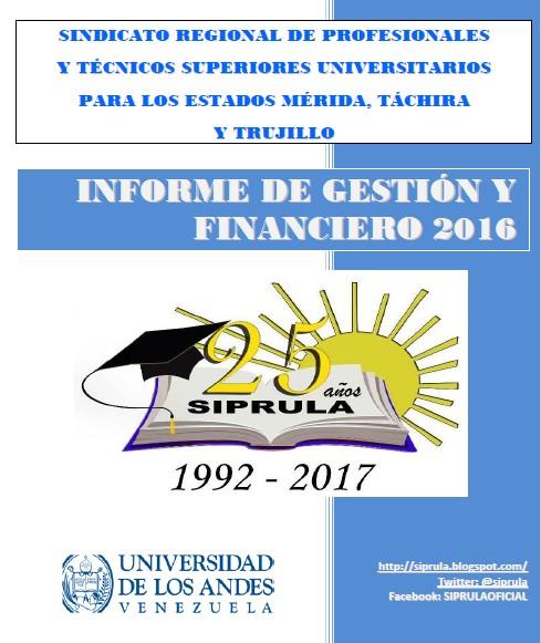 Informe de Gestión y financiero SIPRULA 2016