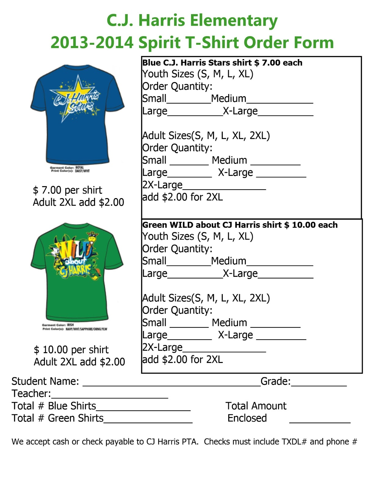 C J  Harris PTA Blog: Spirit Apparel Order Form