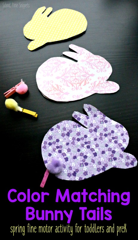 toddler fine motor skills spring activity color matching bunny tails