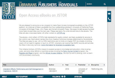 Open Access e-Books on JSTOR