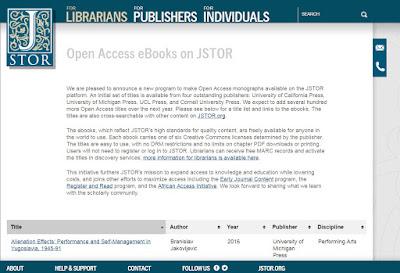 Open Access e-Books on JSTOR