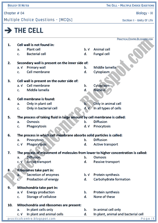 The Cell - Multiple Choice Questions (MCQs) - Biology XI