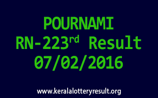 POURNAMI RN 223 Lottery Result 07-02-2016