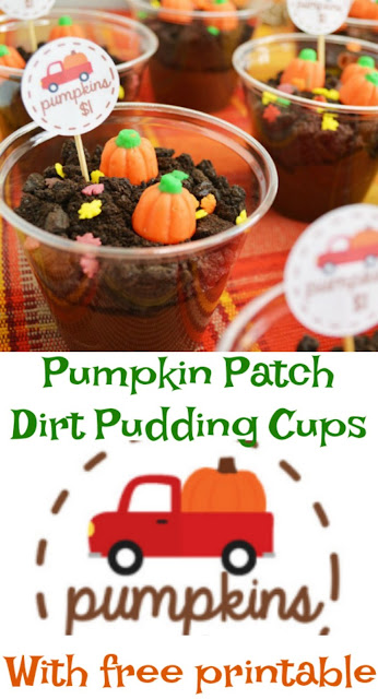 These fun little dirt pudding cups are dressed up and ready for a trip to the pumpkin patch. The free pumpkin truck printable means you can have your own cute treats in no time!