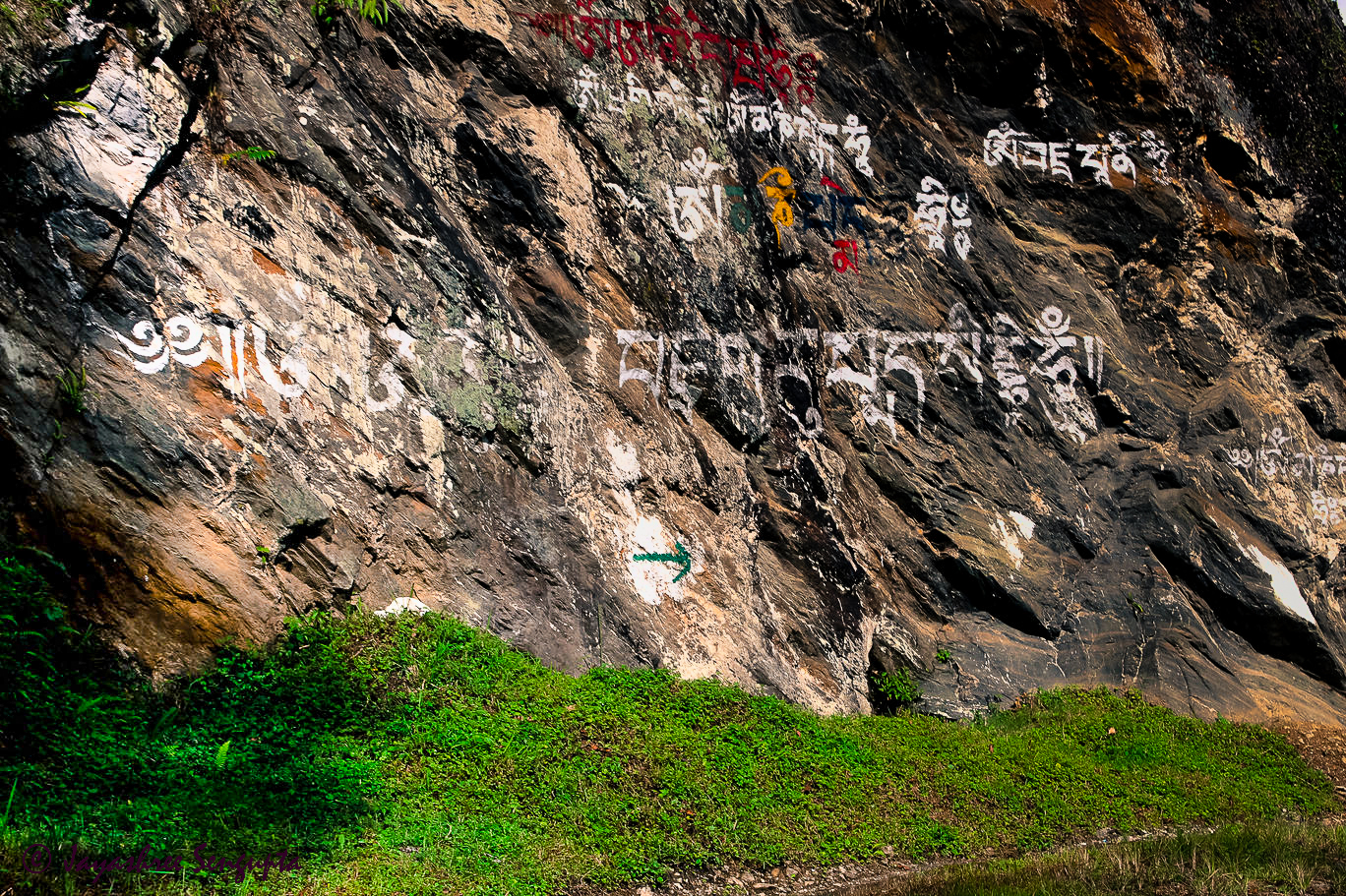 On the way to Pelling from Ravangla the pious mantra engraved on a rock wall @DoiBedouin