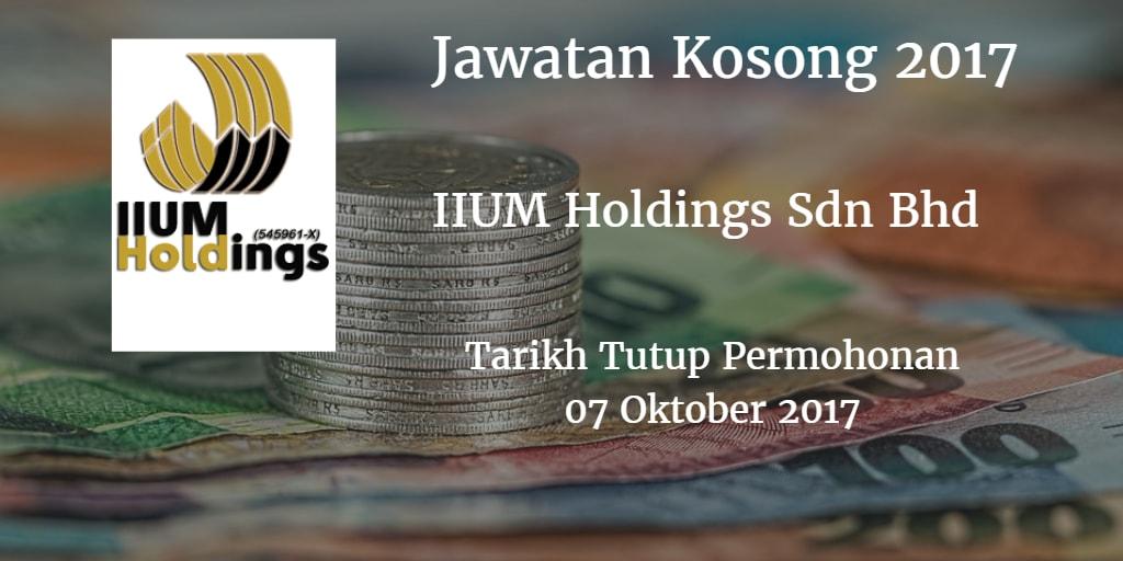 Jawatan Kosong IIUM Holdings Sdn Bhd  07 Oktober 2017