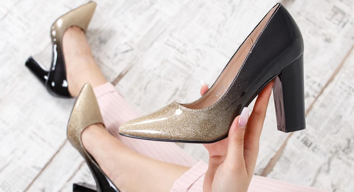 Pantofi dama cu toc gros office si de zi ieftini eleganti modele noi