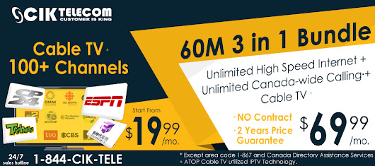 Order & Get 60M Cable 3 in 1 bundle only at $69.99/m on 13th Anniversary of CIK Telecom.