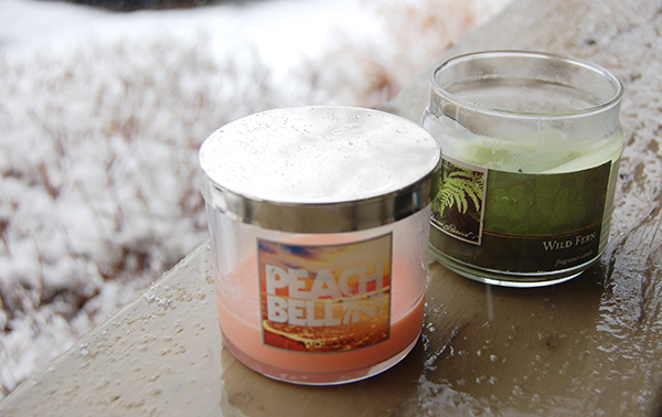 peach bellineicandle from bath and body works, wild fern candle from Hobby Lobby